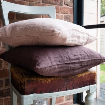 Crinkled Linen Cushion Chestnut