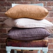 Crinkled Linen Cushion in Amber