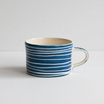 Musango Mug Sgrafitto Stripe Denim Blue