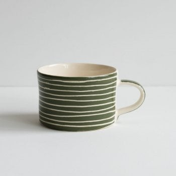 Musango Mug Sgrafitto Stripe Moss Green