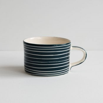 Musango Mug Sgrafitto Stripe Teal