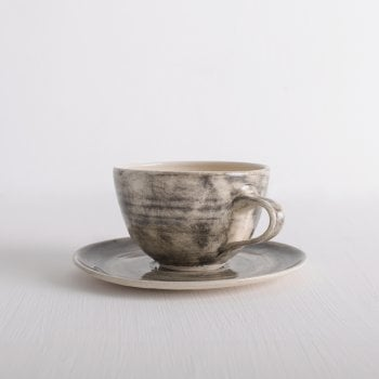 Wonki Ware Cappo Cup and Saucer Charcoal Wash