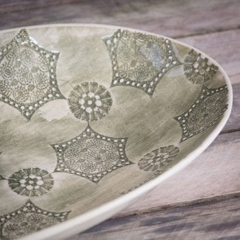 Wonki Ware Extra Large Oval Dish Mixed Lace Dark Green