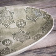 Extra Large Oval Dish Mixed Lace Dark Green