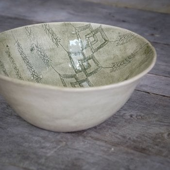 Wonki Ware Noodle Bowl - Mixed Lace - Dark Green