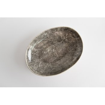 Wonki Ware Oval Bowl - Mixed Lace - Charcoal