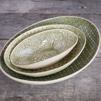 Wonki Ware Oval Bowl Mixed Lace Dark Green