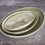 Oval Bowl Mixed Lace Dark Green
