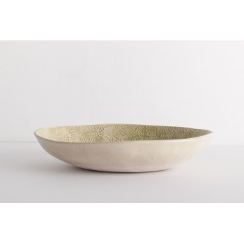 Wonki Ware Oval Bowl - Mixed Lace - Green
