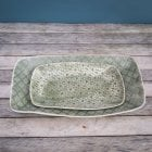 Rectangular Platter - Mixed Lace - Dark Green
