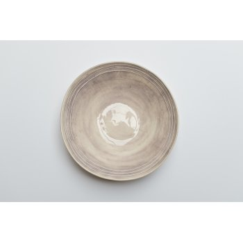 Wonki Ware Salad Bowl Raised Lines Aubergine
