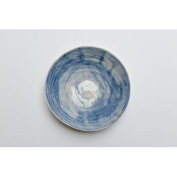 Wonki Ware Salad Bowl Raised Lines Cornflower Blue