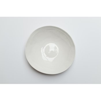 Wonki Ware Salad Bowl Raised Lines White
