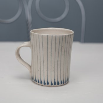 Wonki Ware Small Mug Thin Stripe Duck Egg Blue