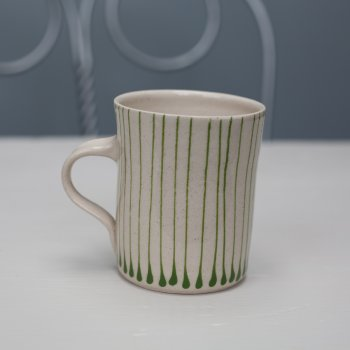 Wonki Ware Small Mug Thin Stripe Green