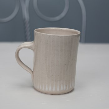 Wonki Ware Small Mug Thin Stripe White