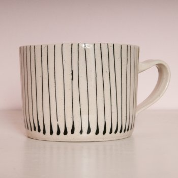 Wonki Ware Squat Mug Thin Stripe Charcoal