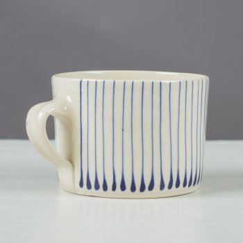 Wonki Ware Squat Mug Thin Stripe Cornflower Blue