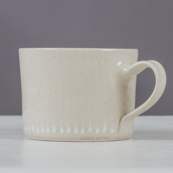 Wonki Ware Squat Mug Thin Stripe White
