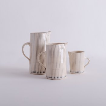 Wonki Ware Tall Skinny Jugs Duck Egg Stripe