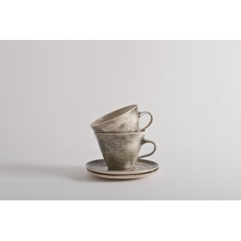 Wonki Ware Tea Cup and Saucer Charcoal