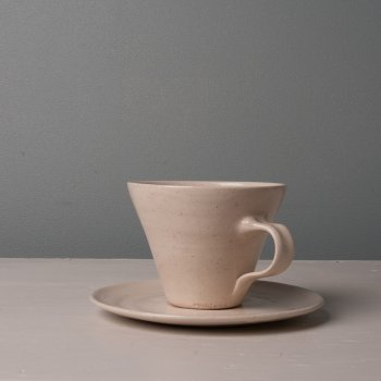 Wonki Ware Tea Cup and Saucer Stone