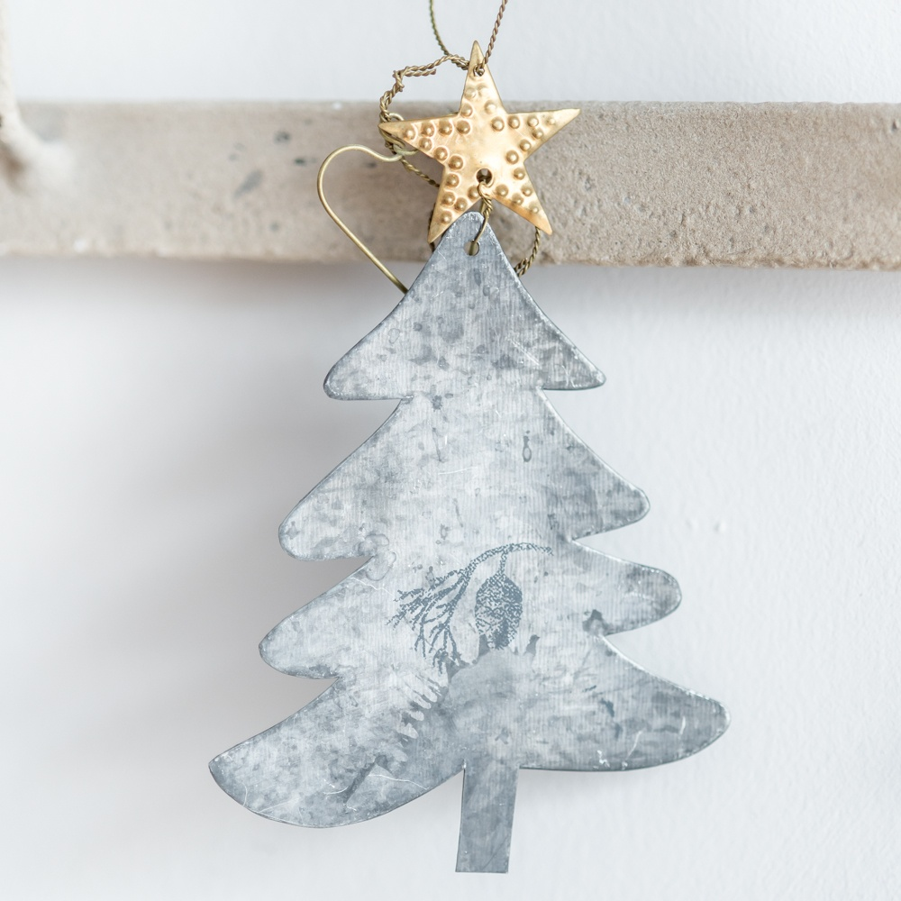 zinc christmas tree decoration